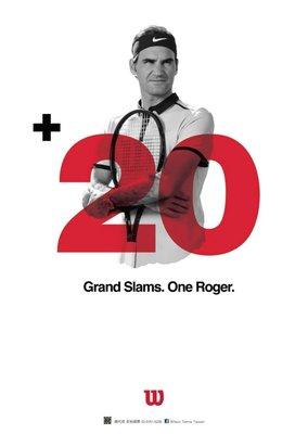 總統網球 (自取可刷國旅卡) 費德勒 ROGER FEDERER 2018 大滿貫 20勝 海報 (費迷請把握機會)