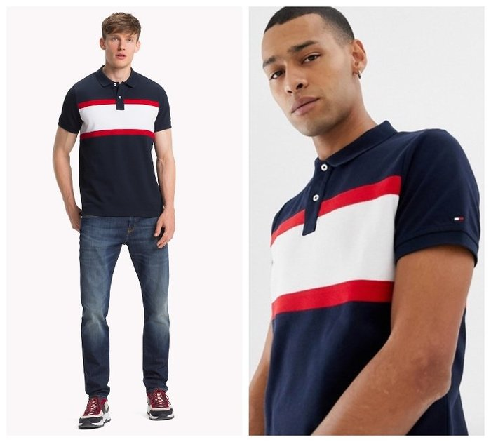 【BJ.GO】 Tommy Hilfiger icon stripe chest insert pique polo衫