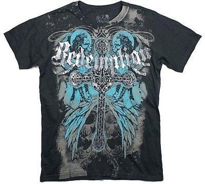 tthe Raw Uncut 短袖 T 恤 Redemption 美國潮牌 銀色十字架 雙獅翅膀黑色 M 【以靡正品】