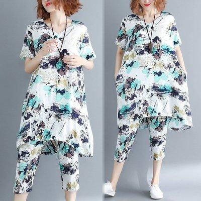中大尺碼套裝 遮肉套裝女夏季2019新款寬鬆大尺碼棉麻印花中長款上衣七分褲兩件套