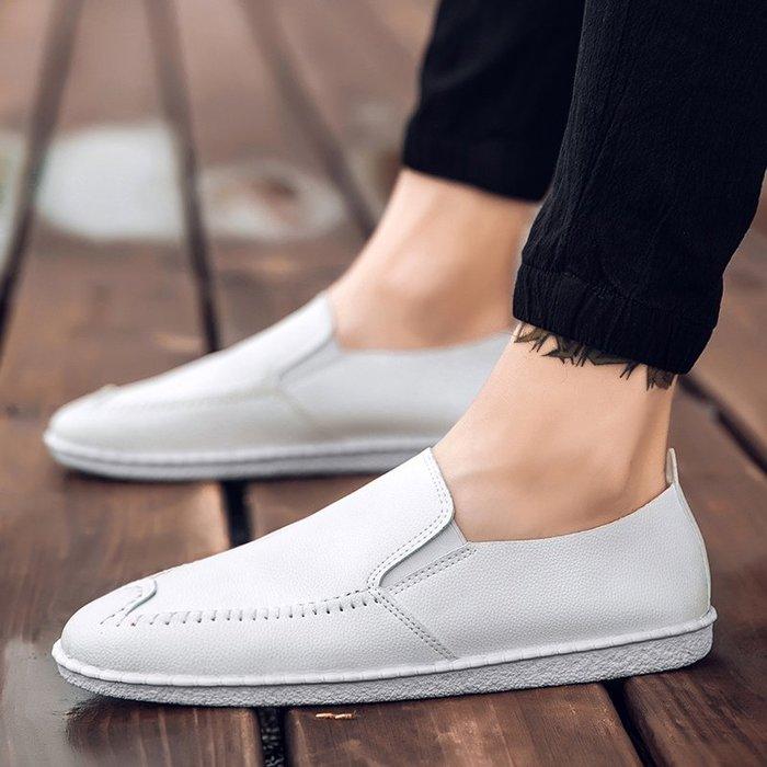 春季男士白色豆豆鞋2018新款休閑皮鞋韓版潮流社會小伙精神潮