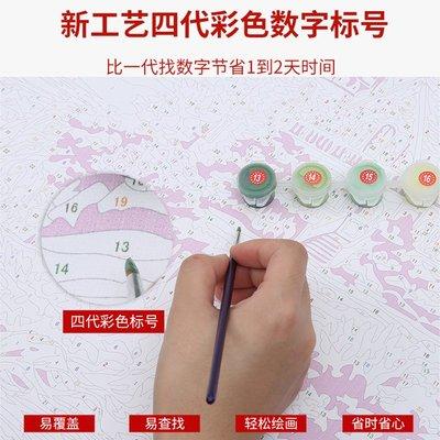 手工IDYdiy畫畫diy 油彩畫數字油畫風景水彩涂色填色填充減壓手工手繪裝飾畫