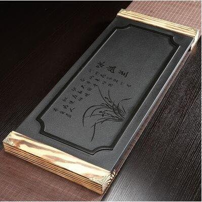 【優上】詠幽蘭加木底座28寬烏金石茶磐石頭茶盤天然黑金石茶臺