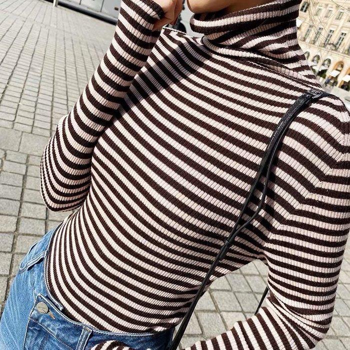 ❤JM SHOP韓風❤無縫全成型條紋全羊毛高領針織衫