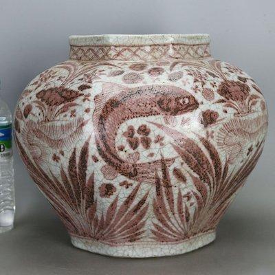 ㊣姥姥的寶藏㊣民國柴窯燒制仿元代釉裡紅魚草紋八方罐 古玩