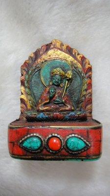 甘丹佛教文物^_^消除道障蓮師擦擦 綠松石佛像 隨身佛 稀有莊嚴* 蓮師八變