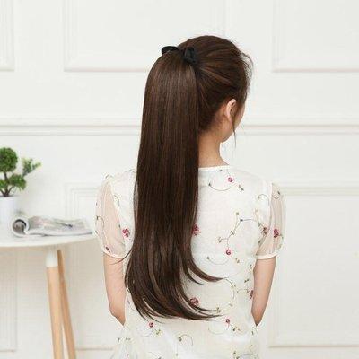 馬尾假髮韓系假髮馬尾鞭女中長直髮接髮綁帶式微捲馬尾假髮逼真舒適自然假馬尾