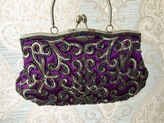 just Queen 實拍 紫色古典風繡花珠珠兩用式晚宴包 手提包 珍珠 新娘包