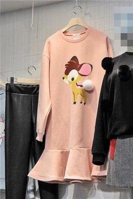 ♥出清 可純超取♥ 超級可愛小鹿斑比白球球內刷毛休閒洋裝(粉色現貨)  正韓