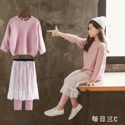 女童兩件套裙秋裝新款韓版童裝兒童洋氣毛衣套裝潮衣 zm8000