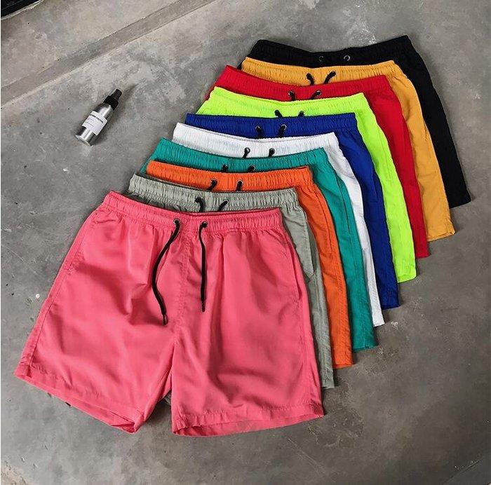韓系男士短褲糖果色五分褲男十色速幹沙灘褲 C234