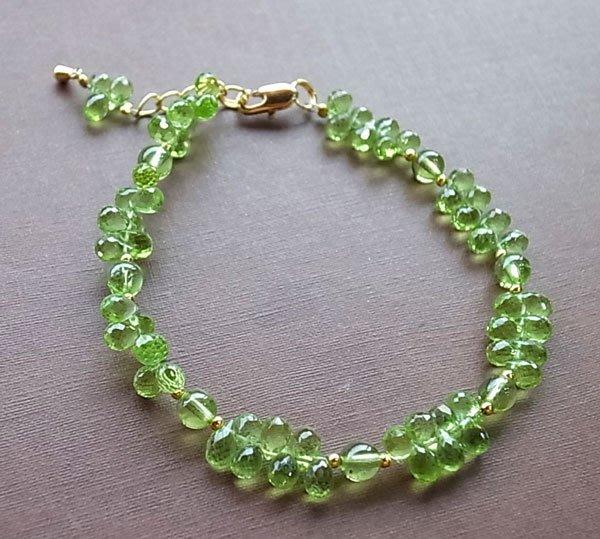 ☆采鑫天然寶石☆ **精翠**~頂級橄欖石珠寶立體水滴切面手鍊~濃綠亮彩~珍藏