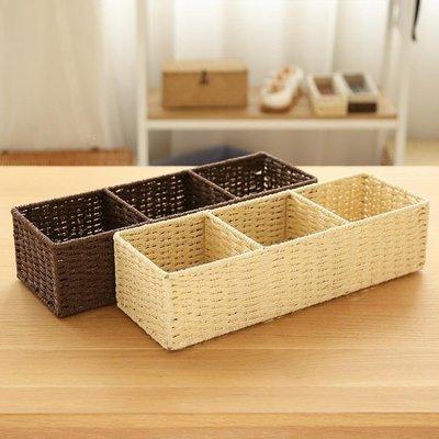 YEAHSHOP 簡約分格桌面收納盒雜物收納盒壁櫥柜子電視柜茶幾收納筐置物盒187647Y185