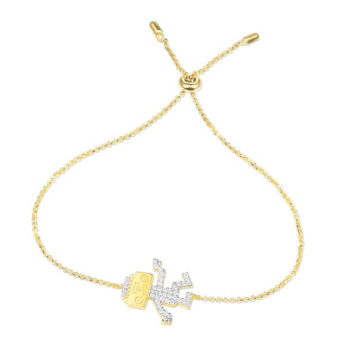 安安精品 保證正品!林志玲同款金黃色純銀鑲晶鑽跳舞機器人手鍊AB3526OXY