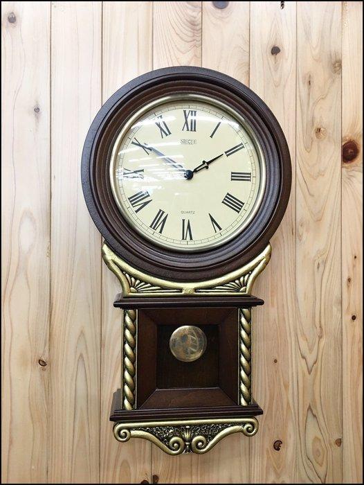 歐式古典風 波麗金色邊胡桃木色造型時鐘擺鐘 木製藝術掛鐘擺鐘壁鐘 客廳圓形鐘面鐘古董鐘復古時鐘【歐舍傢居】