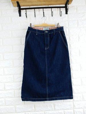 正韓 韓國進口CONCORDANCE深藍色腰內格紋牛仔裙無彈性長裙 現貨特價 小齊韓衣