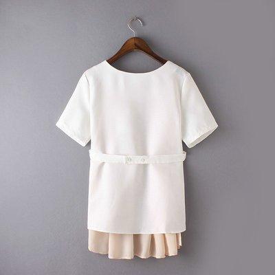 春季女装新款 韩版简约拼色圆领短袖显瘦衬衫L號現貨圖1正面喔圖2背面
