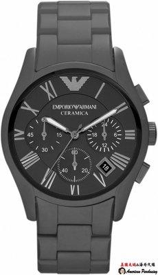 美國大媽代購 EMPORIO ARMANI 亞曼尼手錶 AR1457 消光黑陶瓷三眼計時腕錶 手錶 歐美代購