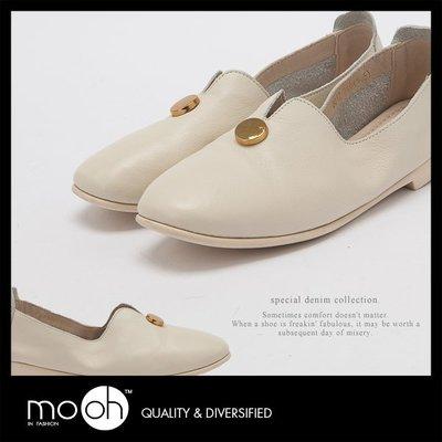 懶人鞋 金屬圓釦全真皮柔軟低跟樂福鞋 mo.oh (歐美鞋款) 現貨