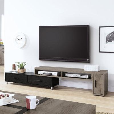 【在地人傢俱】21 GoGo購-肯特古橡色黑色雙色木紋4.6尺伸縮長櫃/電視櫃/矮櫃 SY310-01〈滿五千折扣〉