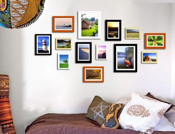 北歐經典相片牆 大尺寸13框 實木相框 相片牆,全配免釘牆贈卡紙+藍丁膠只要$999