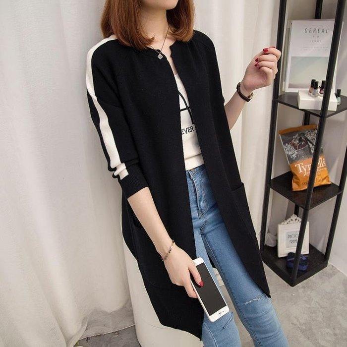 2019秋季新款韓版中長款長袖針織衫開衫寬鬆大碼外搭毛衣外套女秋