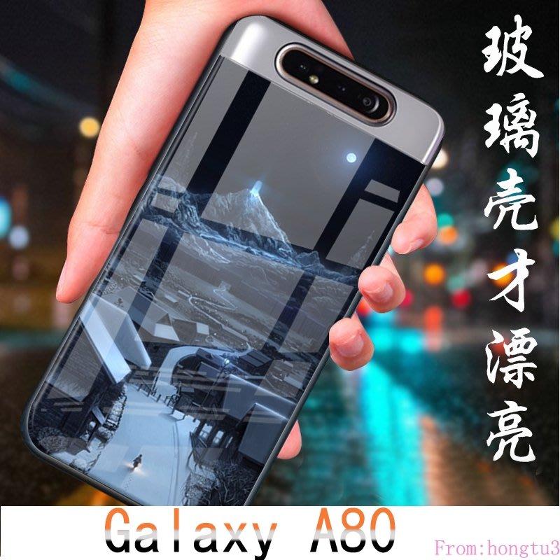 彩繪玻璃套 Galaxy A80 Samsung 手機防摔套 鋼化玻璃殼 三星 SM-A805F 手機殼 手機保護殼