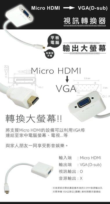 3C嚴選-Micro HDMI TO VGA Surface RT / RT2 微型 投影機 轉換器 轉接線 轉接線