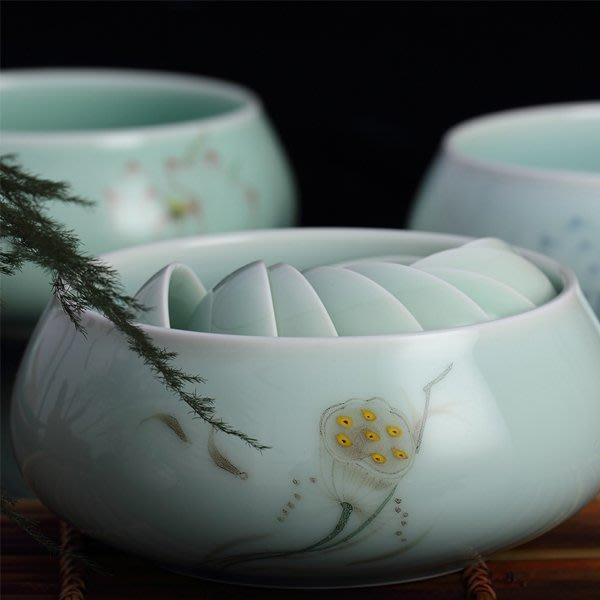 5Cgo【茗道】含稅會員有優惠   520594479495 茶洗陶瓷青花瓷茶碗功夫茶具水洗碗茶杯洗茶船茶壺茶道配件