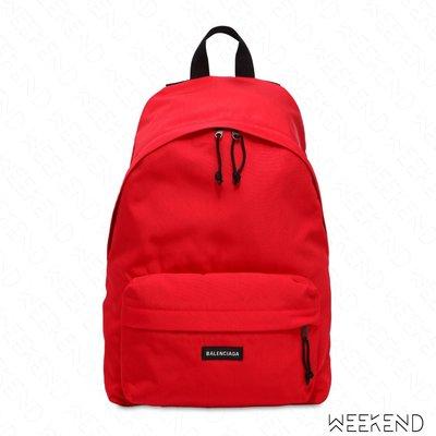 【WEEKEND】 BALENCIAGA Logo Nylon 巴黎世家 尼龍 後背包 紅色