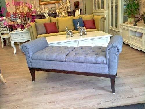 美生活館---客訂古典風拉扣棉麻布沙發雙扶手可掀式長凳/床尾椅/玄關椅--可挑布可訂大小