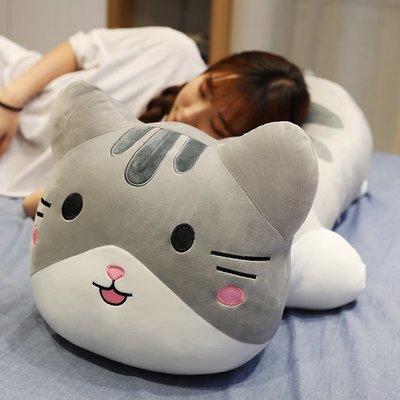 絨毛玩偶公仔抱枕兒童送禮 可愛趴趴蛋蛋貓咪公仔毛絨玩具創意小貓女生睡覺抱枕長條抱枕超萌