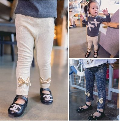 ♥【GK0047】韓版女童裝燙金蝴蝶結貼腿褲 2色 (深藍色 現貨) ♥