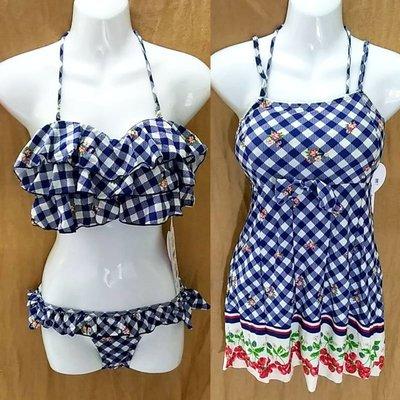 日本泳裝-Angel Luna英倫風復古格子平口荷葉邊比基尼連身裙泳裝-三件_16318