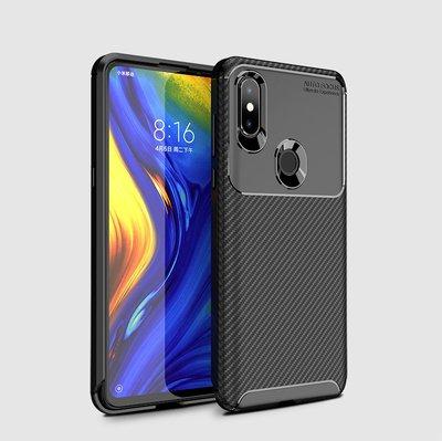 防摔小米 MIX 3 碳纖維紋手機殼 MIX3 全包邊保護殼 TPU 軟殼 黑色