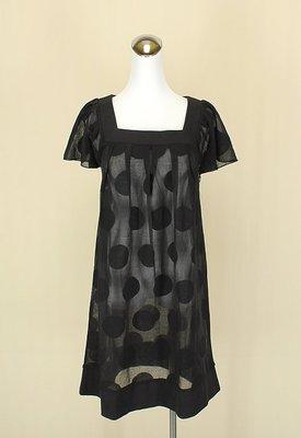 ◄貞新二手衣►Que ue 日本 黑色點點羅馬領短袖棉質洋裝L號(23444)