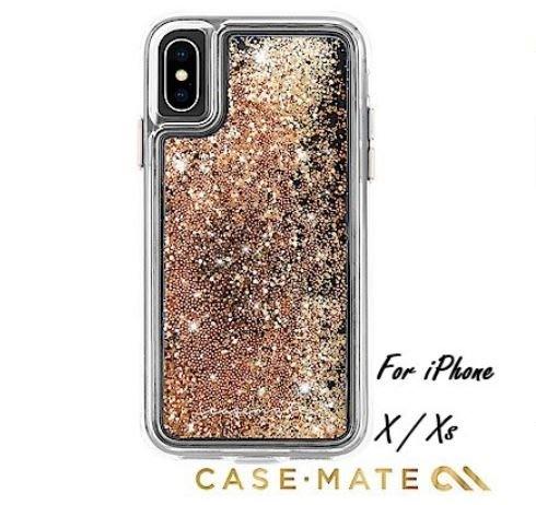 【貝殼】Case-Mate 美國軍規正品 iPhoneX/XS Waterfall (亮粉瀑布防摔手機保護殼-金)