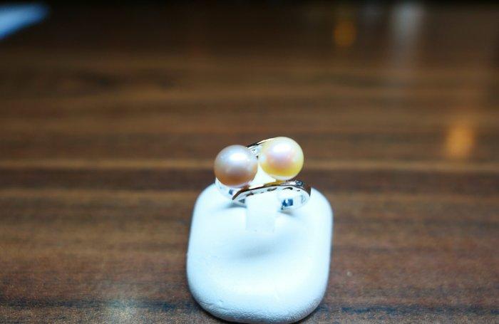 [吉宏精品交流中心]2P 7.3mm 天然珍珠 白K金 造型 戒指