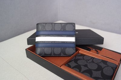 (Outlet特惠)COACH 26072 新款男士PVC配皮條紋拼色短夾 內置相片卡位 附代購憑證