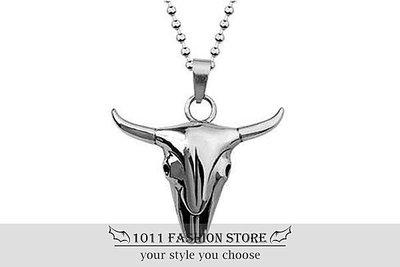 【 1011 精品小舖 】 美式搖滾 龐克風 鈦鋼 / 西德鋼 公牛牛頭 男性項鍊 女性項鍊  B63-1