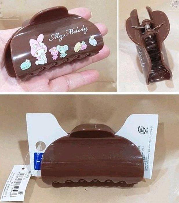 牛牛ㄉ媽*日本進口正版商品㊣美樂蒂鯊魚夾 Melody 美樂蒂髮夾 髮飾 咖啡色馬卡龍款