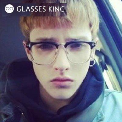 眼鏡王☆半框T字街頭歐美平光造型男鏡框韓國陳冠希復古文青圓框個性金屬框黑色A80