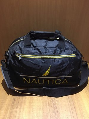 NAUTICA 黑色旅行袋 圓筒包 運動包 提袋 露營手提袋 旅行袋 側背包 側背袋