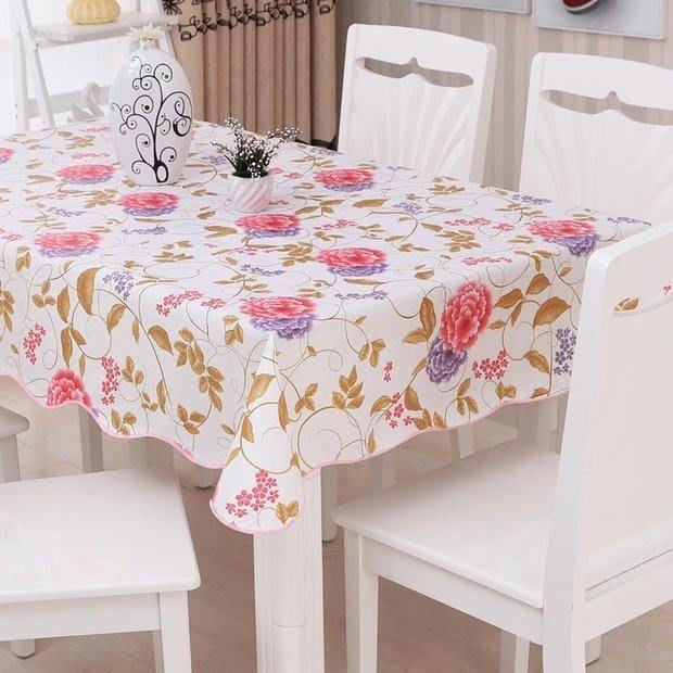 創意 居家 裝飾清清美歐式印花防水防油桌布塑料布藝餐桌布桌布*免洗