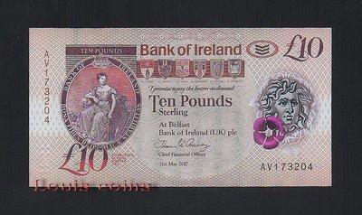 【Louis Coins】B071-NORTHERN IRELAND-2017北愛爾蘭塑膠鈔.10 pounds