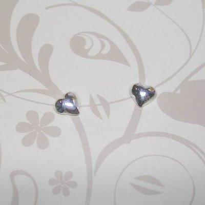 琥珀貓銀飾DIY【925純銀飾品】耳飾~耳針~N7593款~5mm愛心~一對