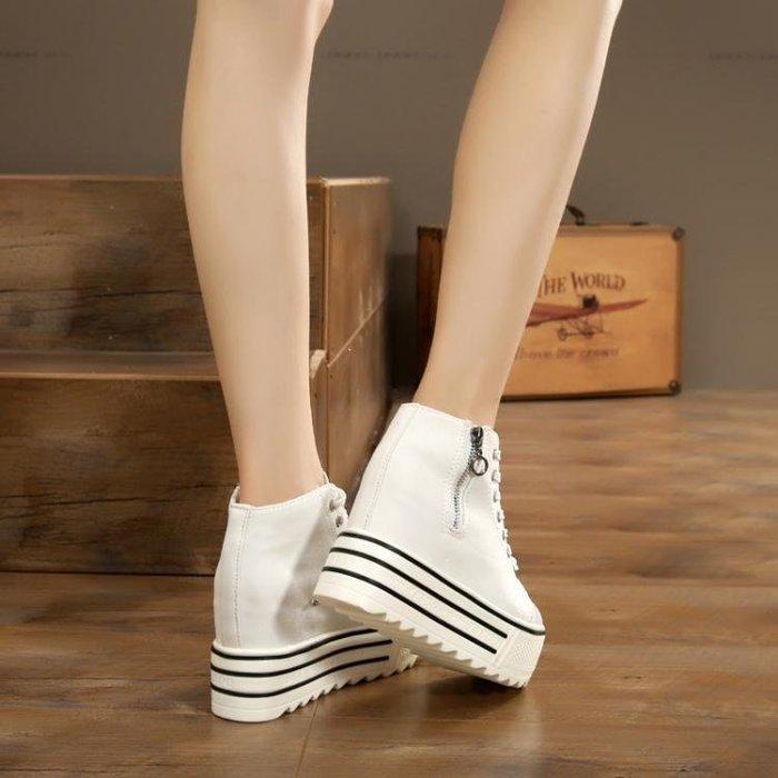 麥麥部落 中筒鞋—春夏季高筒帆布鞋女內增高鬆糕厚底學生板鞋正韓MB9D8