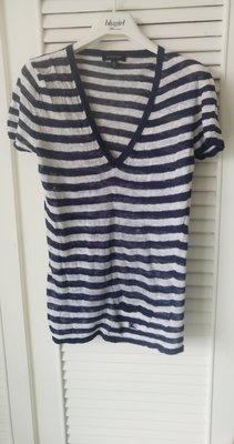 專櫃正品【Burberry】海軍風藍白條紋100%Linen 深V領上衣