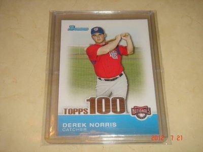 美國職棒 Athletics Derek Norris 2010 Bowman Topps 100 Prospects #TP35 球員卡