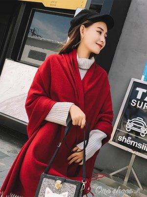 披肩女秋冬青海湖旅游圍巾紅色超大加厚西藏大西北茶卡鹽湖披肩